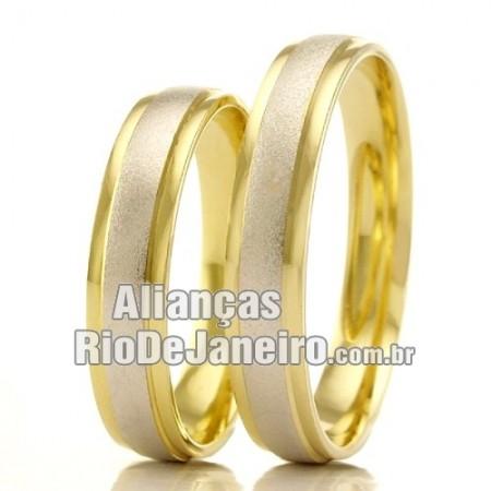 Alianças Rio de janeiro em ouro Branco e Amarelo