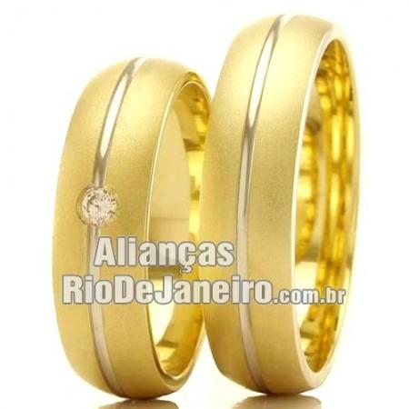 Alianças em ouro  18k amarelo e branco Rio de janeiro