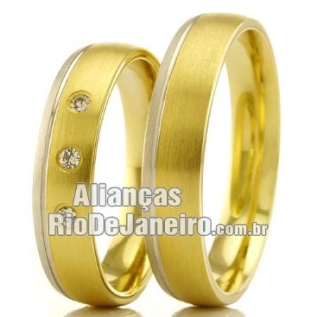 Alianças Rio de janeiro  em ouro 18k branco e amarelo